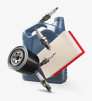 Auto części zamienne. filtry powietrza, oleju, świece zapłonowe i olej. konserwacja serwisowa.