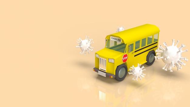 Autobus szkolny i biały wirus na kryzys koronawirusa w koncepcji szkolnej renderowania 3d