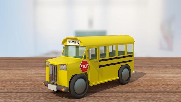 Autobus szkolny na drewnianym stole w klasie na powrót do szkoły lub koncepcji edukacji renderowania 3d