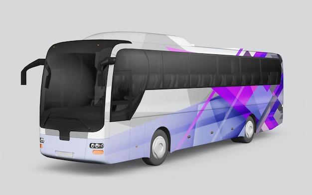 Autobus z dekoracją o geometrycznych kształtach