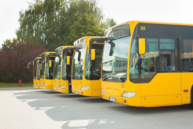 Autobusy parkujące w rzędzie na dworcu autobusowym