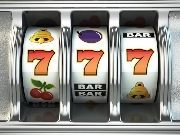 Automat z jackpotem. koncepcja kasyna. 3d