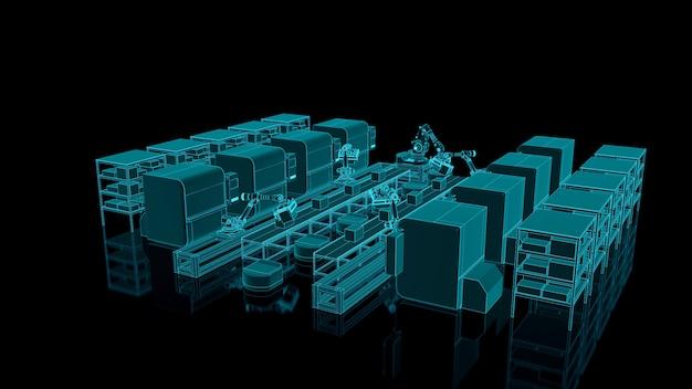 Automatyka fabryczna z agv, drukarkami 3d i ramieniem robota.