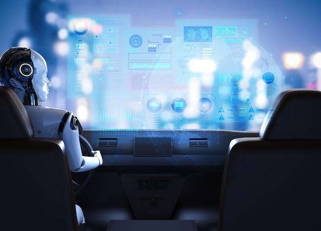 Autonomiczna koncepcja samochodu z renderowaniem 3d samochód z napędem cyborga