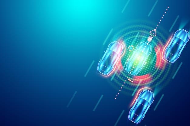 Autopilot, widok z góry samochodu. ilustracja 3d, renderowanie 3d. hologram, kopia przestrzeń.