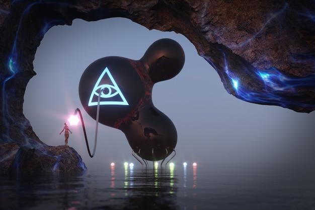 Ð¡ave na fantastycznej planecie z osobą jest zasilany energią z ekstremalnego zbliżenia kosmicznego statku kosmicznego. renderowanie 3d