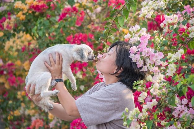 Azja kobiety i psi szczęśliwy uśmiech całuje