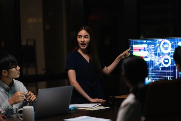 Azjatyccy biznesmeni i biznesmeni spotykający burzę mózgów pomysłów prowadzący biznesową prezentację współpracownicy projektu współpracujący przy planowaniu strategii sukcesu cieszą się pracą zespołową w małym nowoczesnym nocnym biurze.