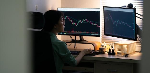 Azjatycka bizneswoman handlująca akcjami na komputerze
