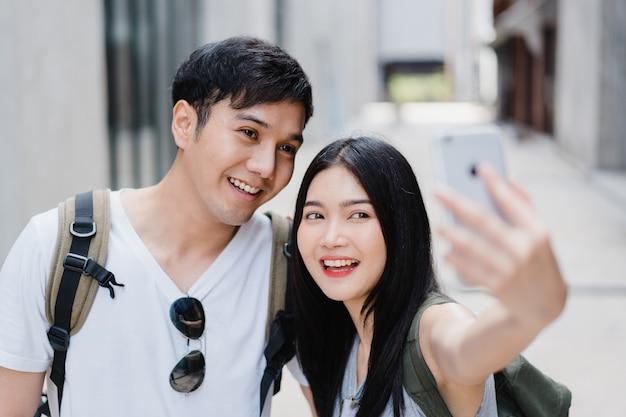 Azjatycka blogger para podróżuje w pekin, chiny