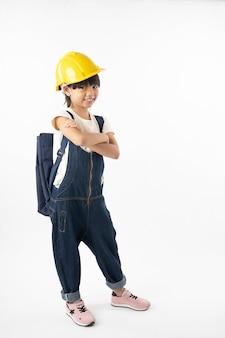 Azjatycka dziewczyna tajlandzki uczeń chce być inżynierem, inżynierii dzieciak odizolowywający na bielu