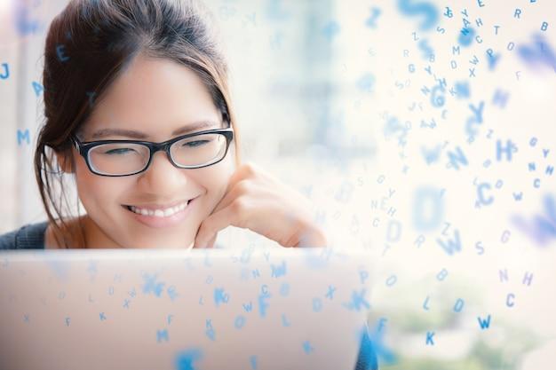 Azjatycka kobieta uczy się z alfabetami renderowania 3d