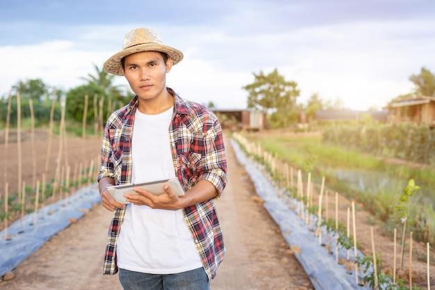 Azjatycka mądrze średniorolna mienie pastylka w jego organicznie gospodarstwie rolnym.