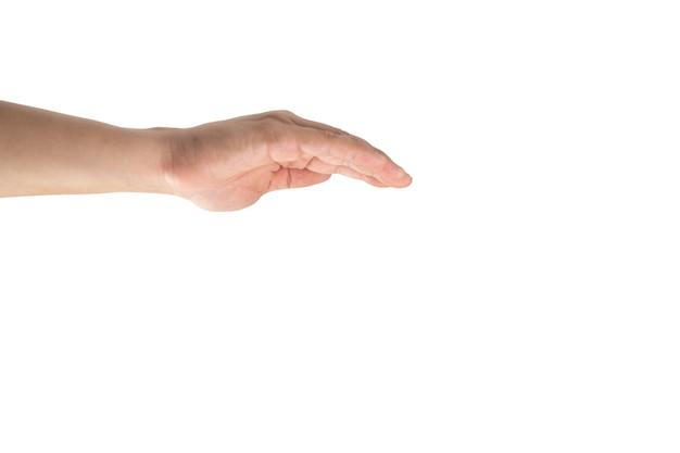Azjatycka ręka jest okładką akcji do góry nogami jak parasol, aby chronić lub złapać coś. ścieżka przycinająca