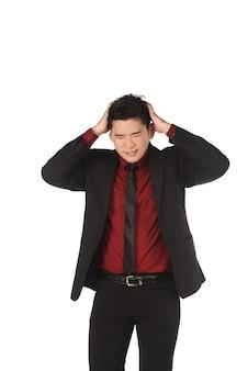 Azjatycki biznesowy mężczyzna z szokującą twarzą