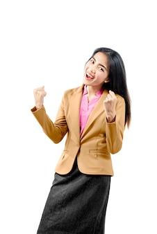 Azjatycki bizneswoman z szczęśliwym wyrażeniem