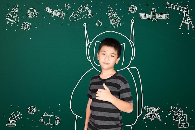 Azjatycki dzieciak z nauką i kosmiczną przygodą, ręcznie rysowane