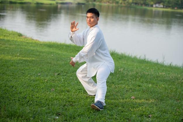 Azjatycki mężczyzna pracujący z tai chi w ranku przy parkiem out, chińskie sztuki samoobrony, zdrowa opieka dla życia pojęcia.