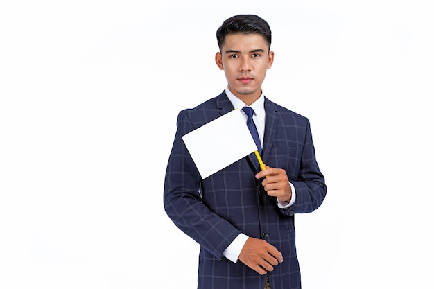 Azjatycki młody przystojny i wesoły biznes człowiek przytrzymaj ikonę