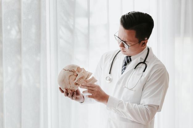 Azjatycki model czaszki egzamin lekarza