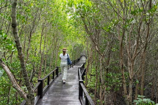 Azjatyckie kobiety podróżujące w lesie i przy użyciu smartfona. ścieżka spacerowa w tropikalnej dżungli.