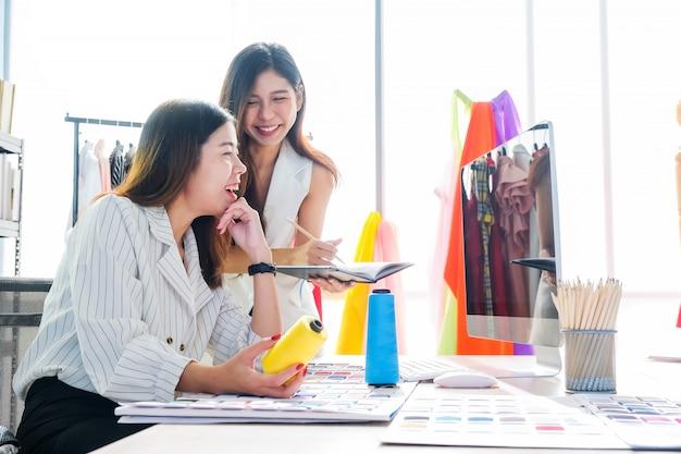 Azjatyckie kobiety w pracy to projektanci mody i krawcy