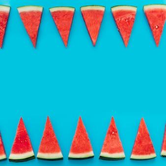 Błękitny arbuza tło z copyspace