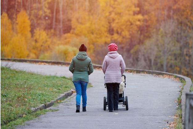 Babcia i córka spaceru w parku z wózkiem