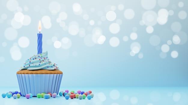 Babeczka pokryta niebieską glazurą z jedną świecą na niebieskim tle z efektem bokeh, renderowania 3d. urodziny