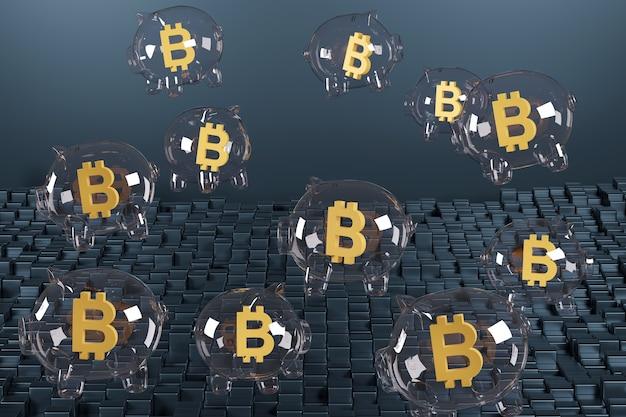 Bąbelki w kształcie skarbonki z symbolem bitcoin w środku.