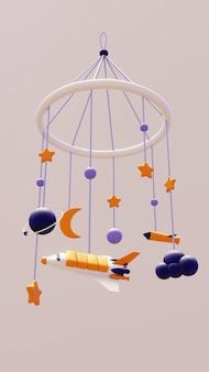 Baby mobile poświęcony kosmosie