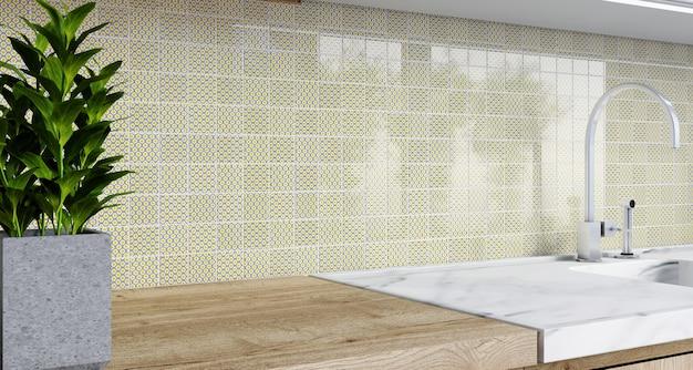 Backsplash mozaiki w kuchni. renderowanie 3d. nowoczesne wnętrze