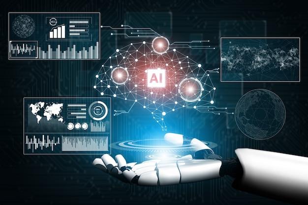 Badania sztucznej inteligencji ai nad rozwojem robotów i cyborgów