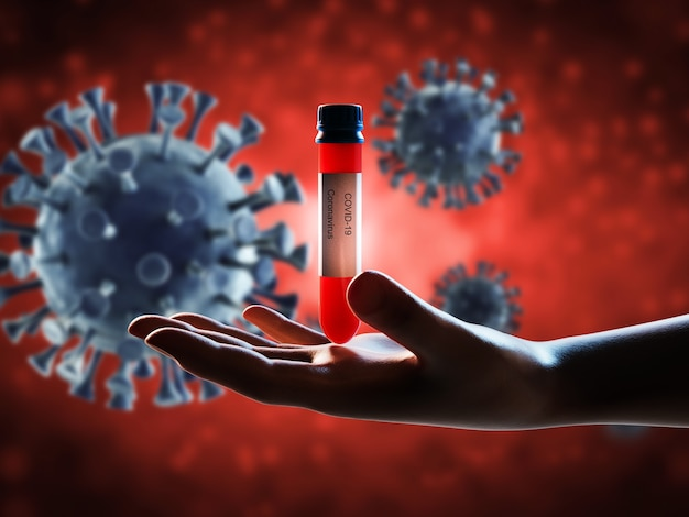 Badanie krwi renderujące 3d na wirusa covid-19