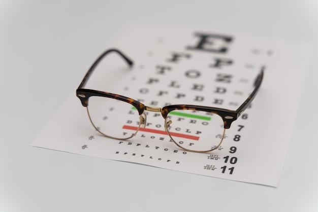 Badanie wzroku, tablica testowa do weryfikacji patien. optometrysta testowa z okularami