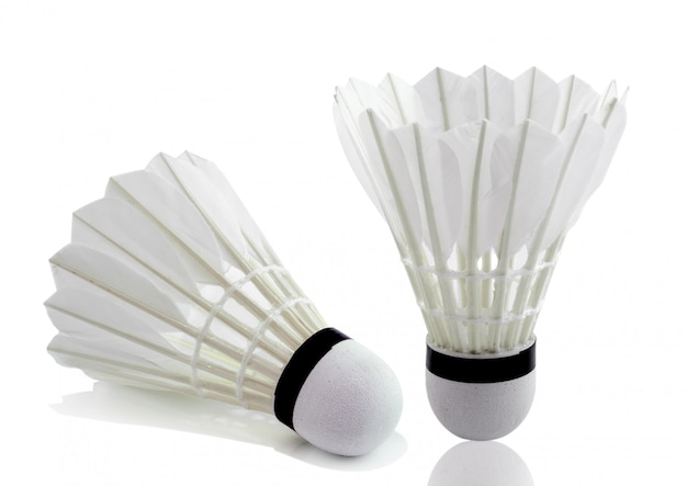 Badminton na białej przestrzeni