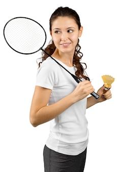 Badmintonista odizolowywający na bielu