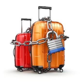 Bagaż z łańcuchem i zamkiem. bezpieczeństwo i bezpieczeństwo bagażu lub koncepcja końca podróży. 3d