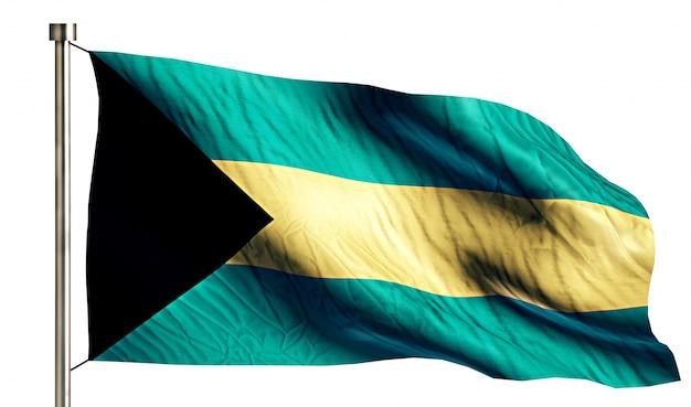 Bahamy flaga narodowa pojedyncze 3d białe tło