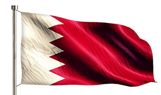 Bahrajn flaga narodowa pojedyncze 3d białe tło