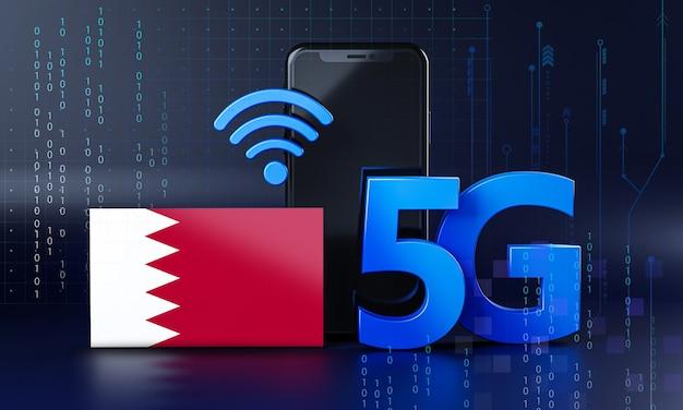 Bahrajn gotowy na koncepcję połączenia 5g. renderowania 3d technologia smartphone tło