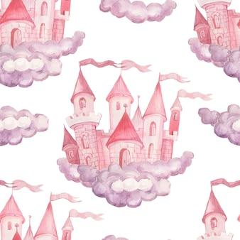 Bajki księżniczka zamek ręcznie rysowane akwarela ilustracja bezszwowe zestaw wydruku tekstylne tło clipart dla małych dziewczynek na wakacje gratulacje chmury różowy kolor ładny obraz