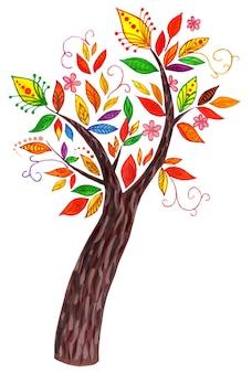 Bajkowe drzewo z kolorowymi liśćmi i niezwykłymi kwiatami akwarela ilustracja na białym tle
