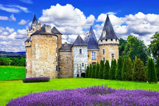 Bajkowe zamki z serii francji, średniowieczny zamek z polem lawendy