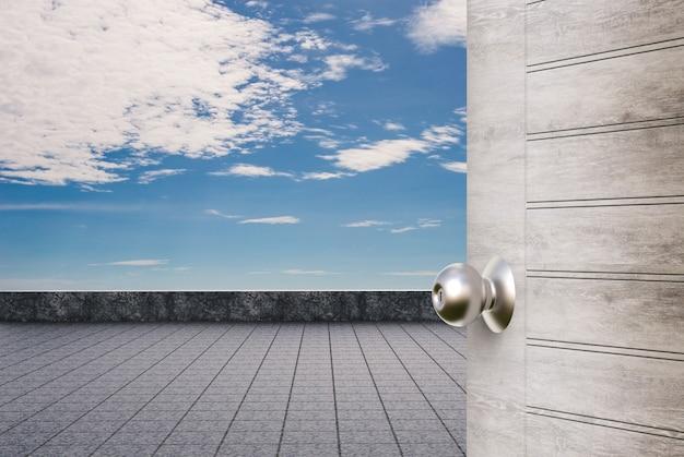 Balkon na dachu z otwartymi drzwiami