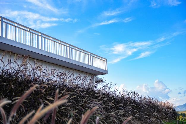 Balkon z widokiem na trawę kwiatów i tło błękitnego nieba, taras z widokiem na góry