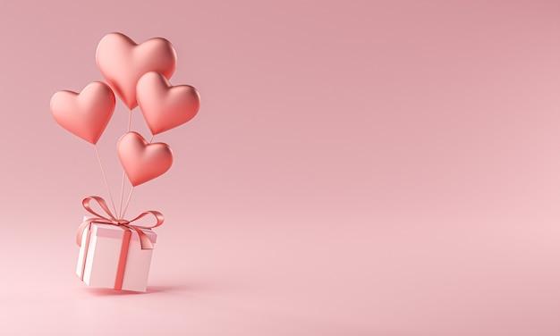 Ballon w kształcie serca prowadzenie pudełko kopia przestrzeń renderowania 3d