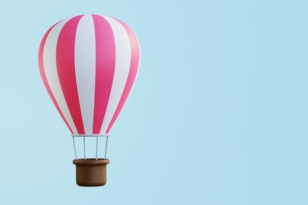Balon na ogrzane powietrze różowe białe paski kolorowy balon na niebieskim tle 3d render ilustracja