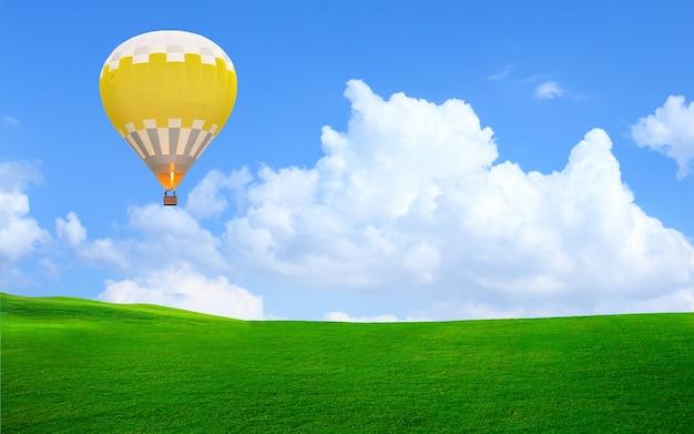 Balon na ogrzane powietrze unoszący się na niebie nad zieloną trawą