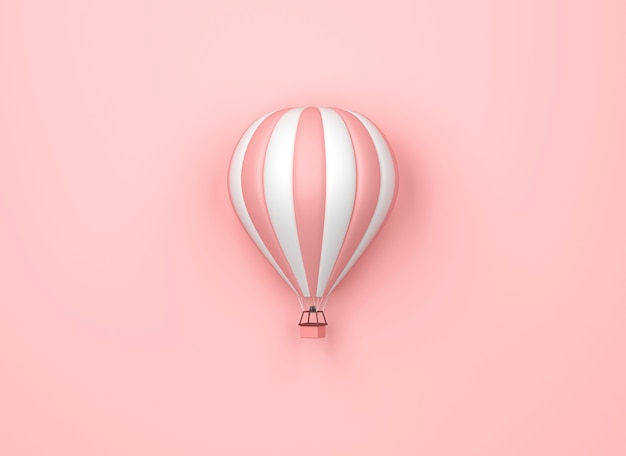 Balon na ogrzane powietrze w różowe i białe paski na pastelowym różowym tle. minimalna koncepcja pomysłu, renderowanie 3d